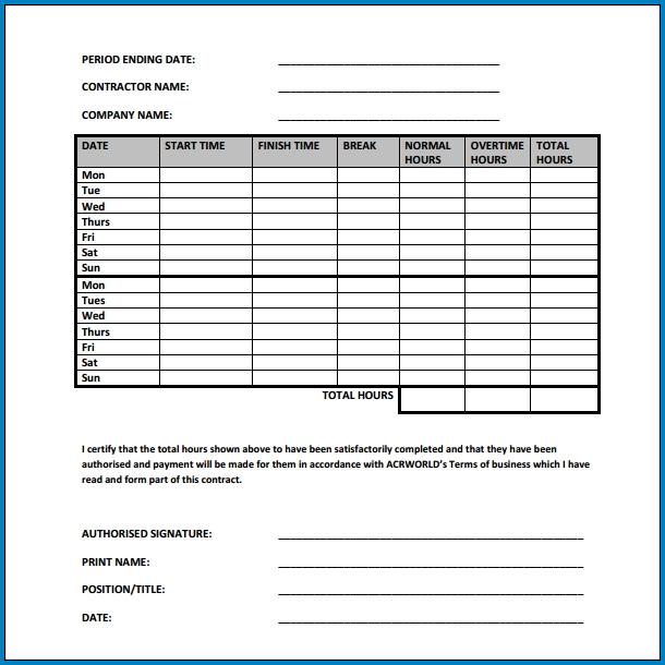 Sample of Independent Contractor Timesheet Template