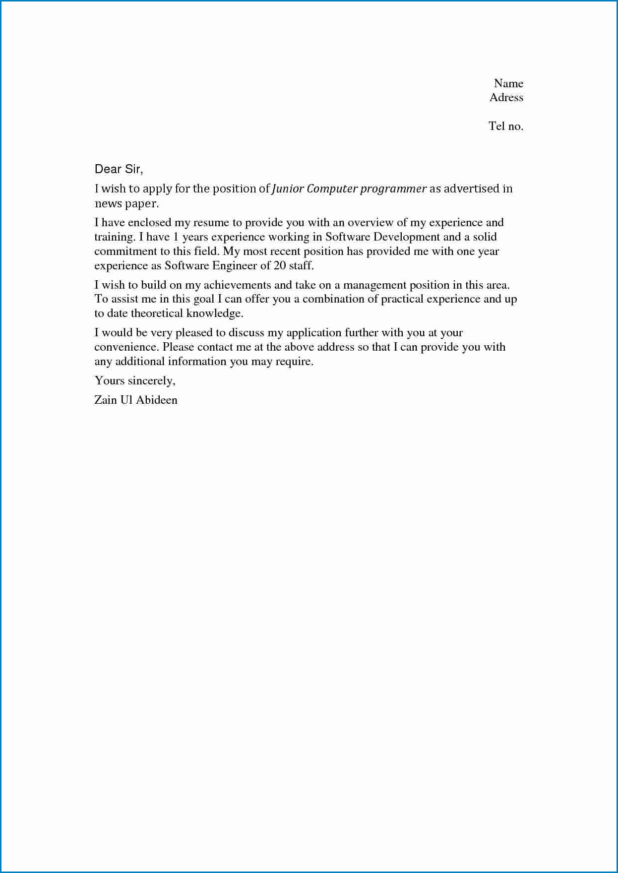 Sample of Job Cover Letter No Experience