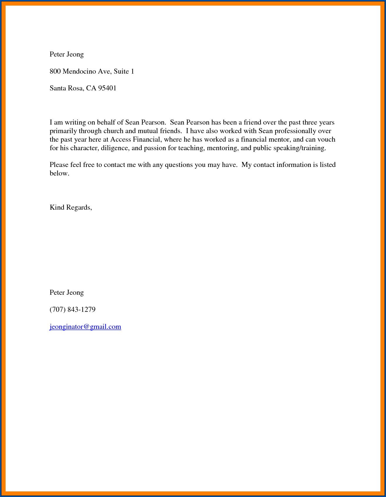 Reference Letter From Friend from www.templateral.com