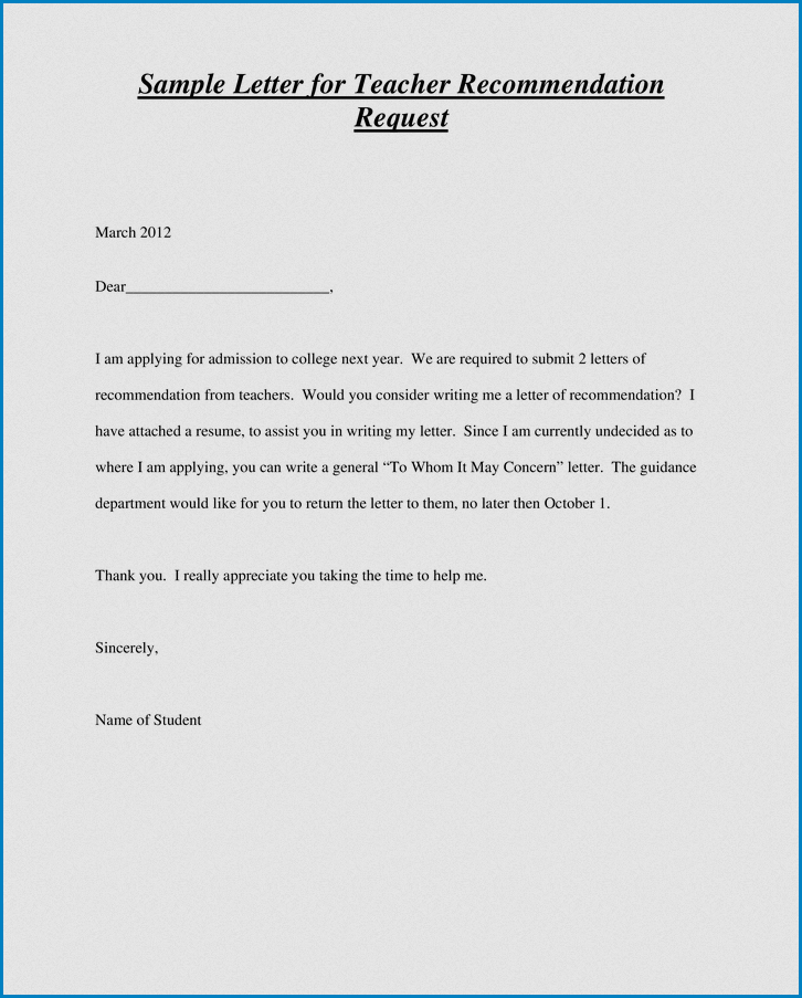 Sample of Letter Of Recommendation Request Template