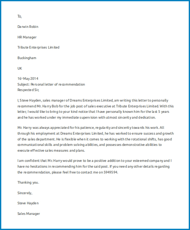 Sample of Letter Of Recommendation Work