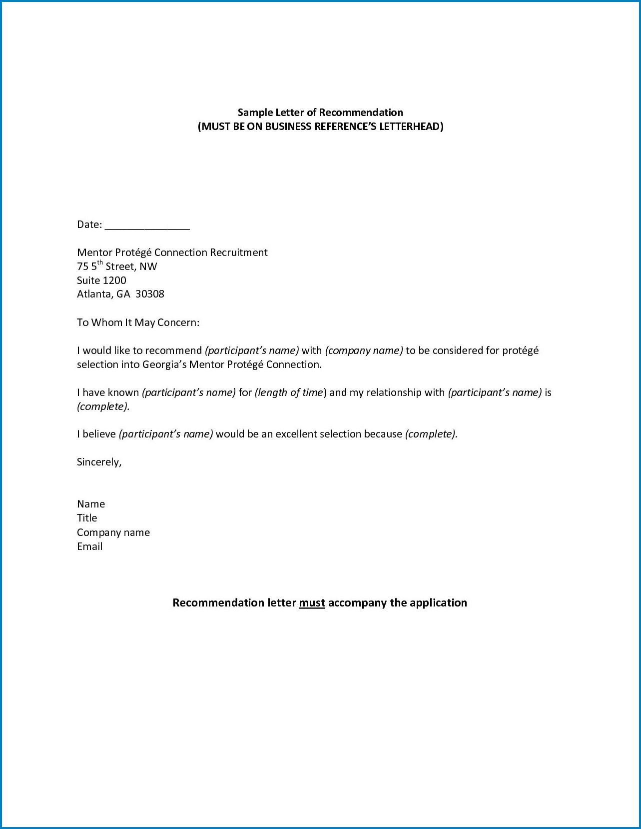 Sample of Letterhead For Letter Of Recommendation