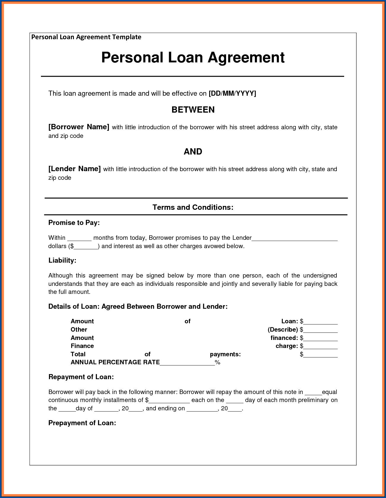 Sample of Loan Contract Template