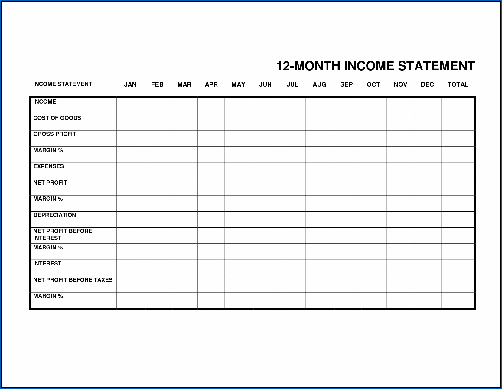 free customizable monthly profit and loss statement