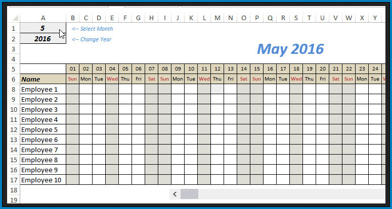 Sample of Monthly Schedule Template Excel