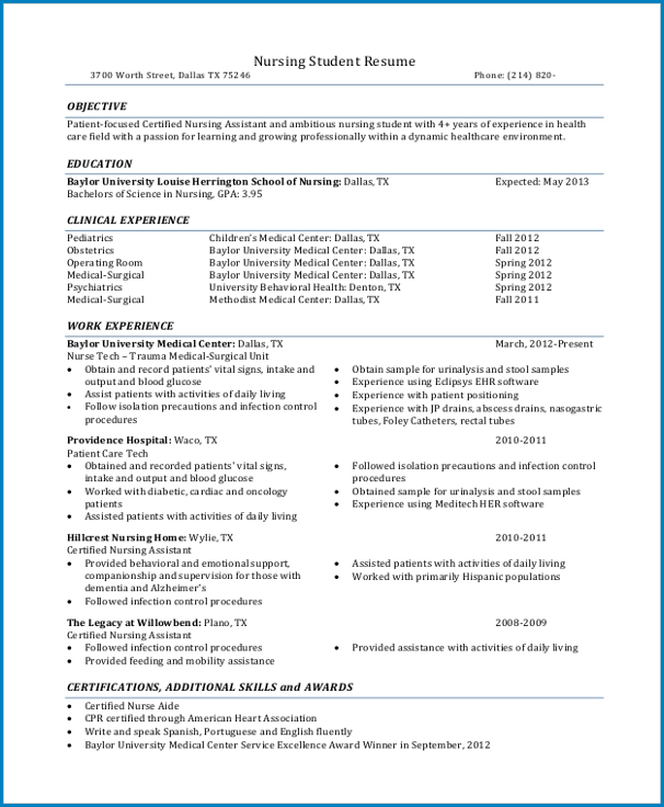 Sample of New Grad Nurse Resume Template