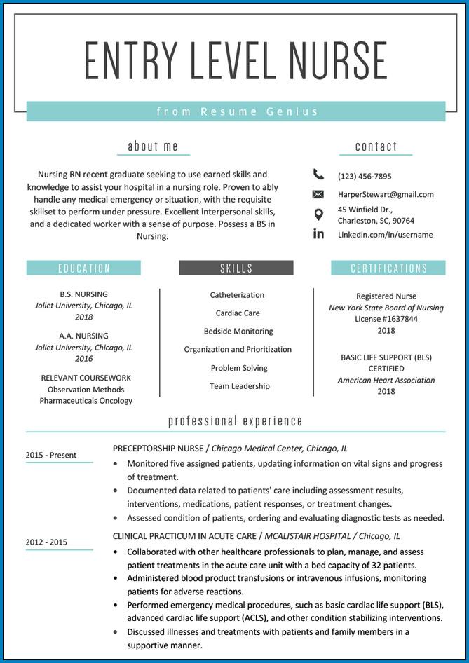 Sample of Nursing Resume Template