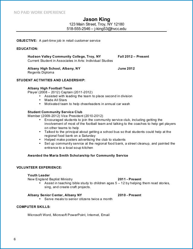 Sample of Part Time Job Resume Template