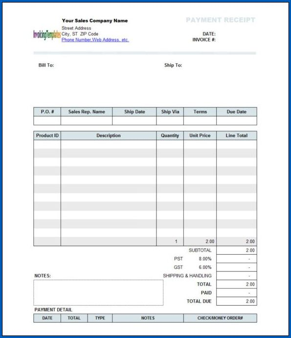 Sample of Payment Receipt Template