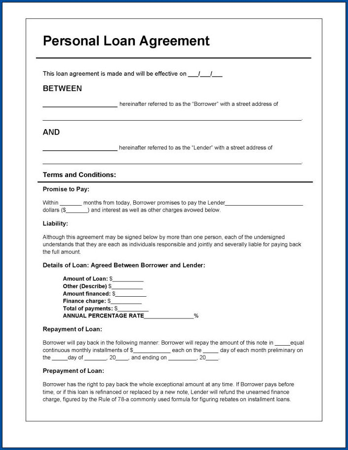 Sample of Personal Loan Agreement Template