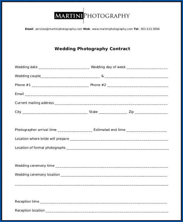 Sample of Photography Contract For Wedding