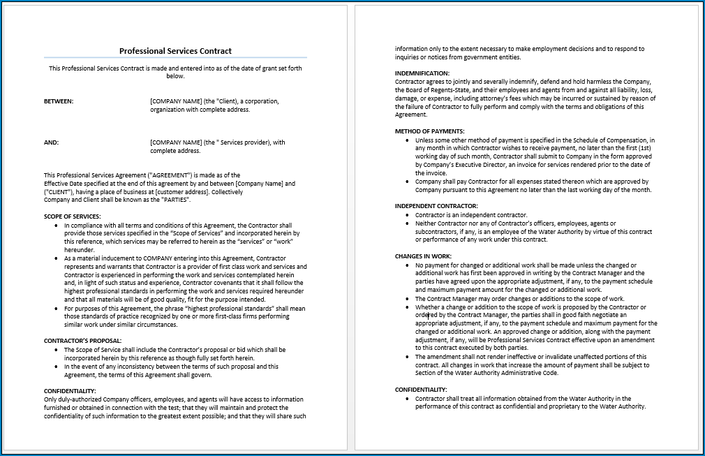 Sample of Professional Services Agreement Template