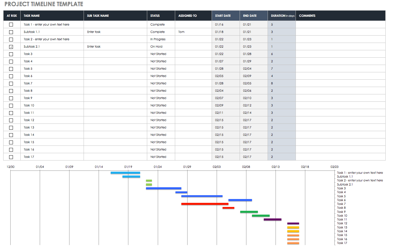 Sample of Project Budget Timeline Template