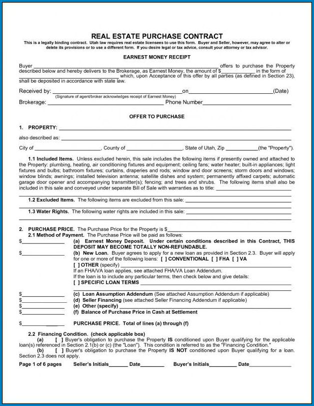 Sample of Real Estate Contract Template