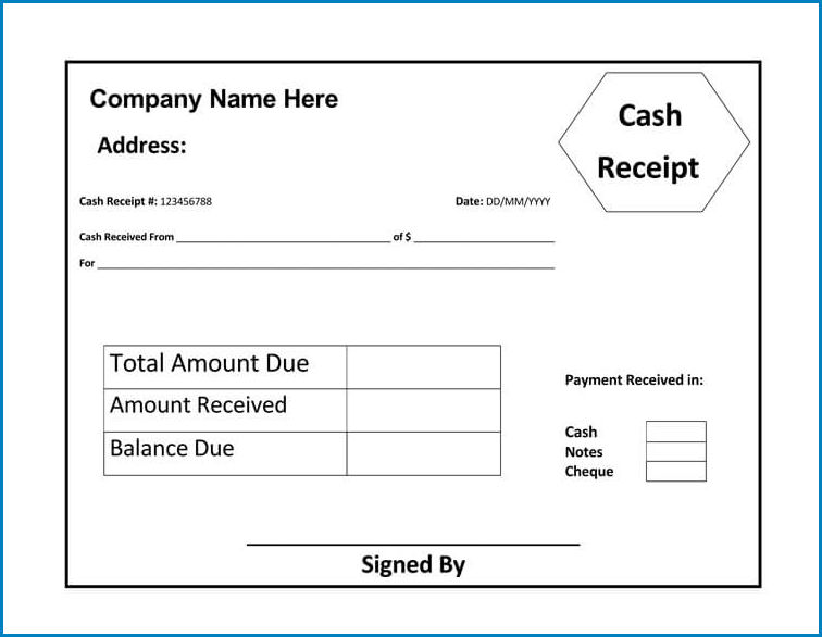 Sample of Receipt Template Word