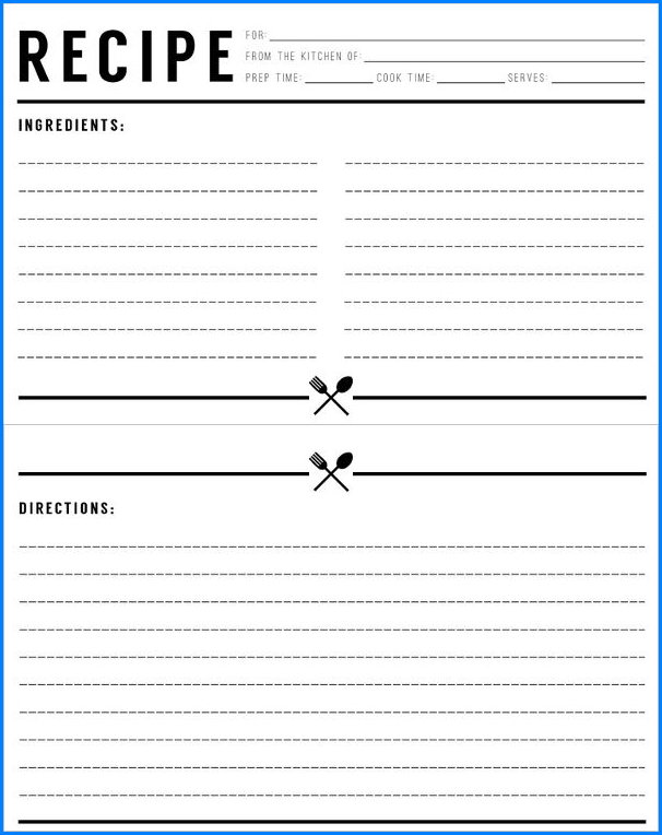 Sample of Recipe Template For Word