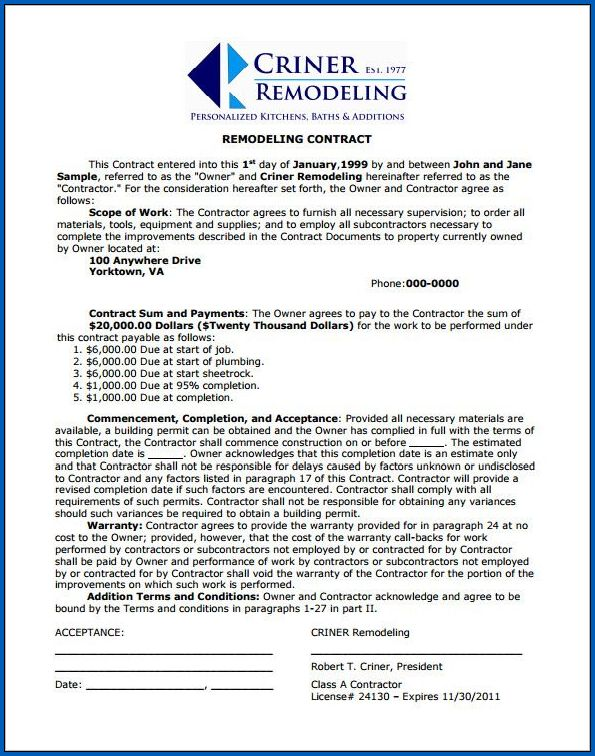 Sample of Remodeling Contract Template