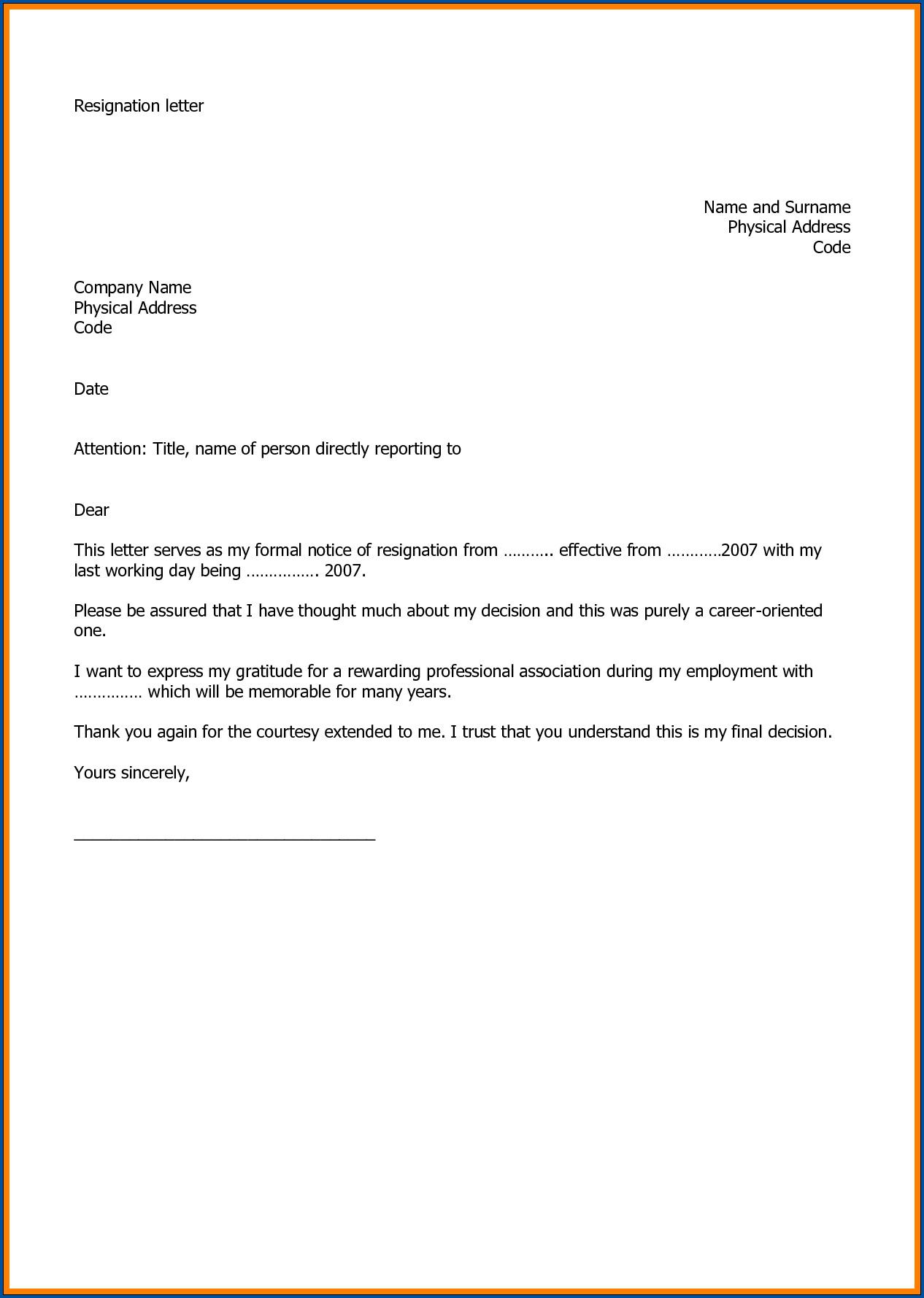 Sample of Resignation Letter For Job