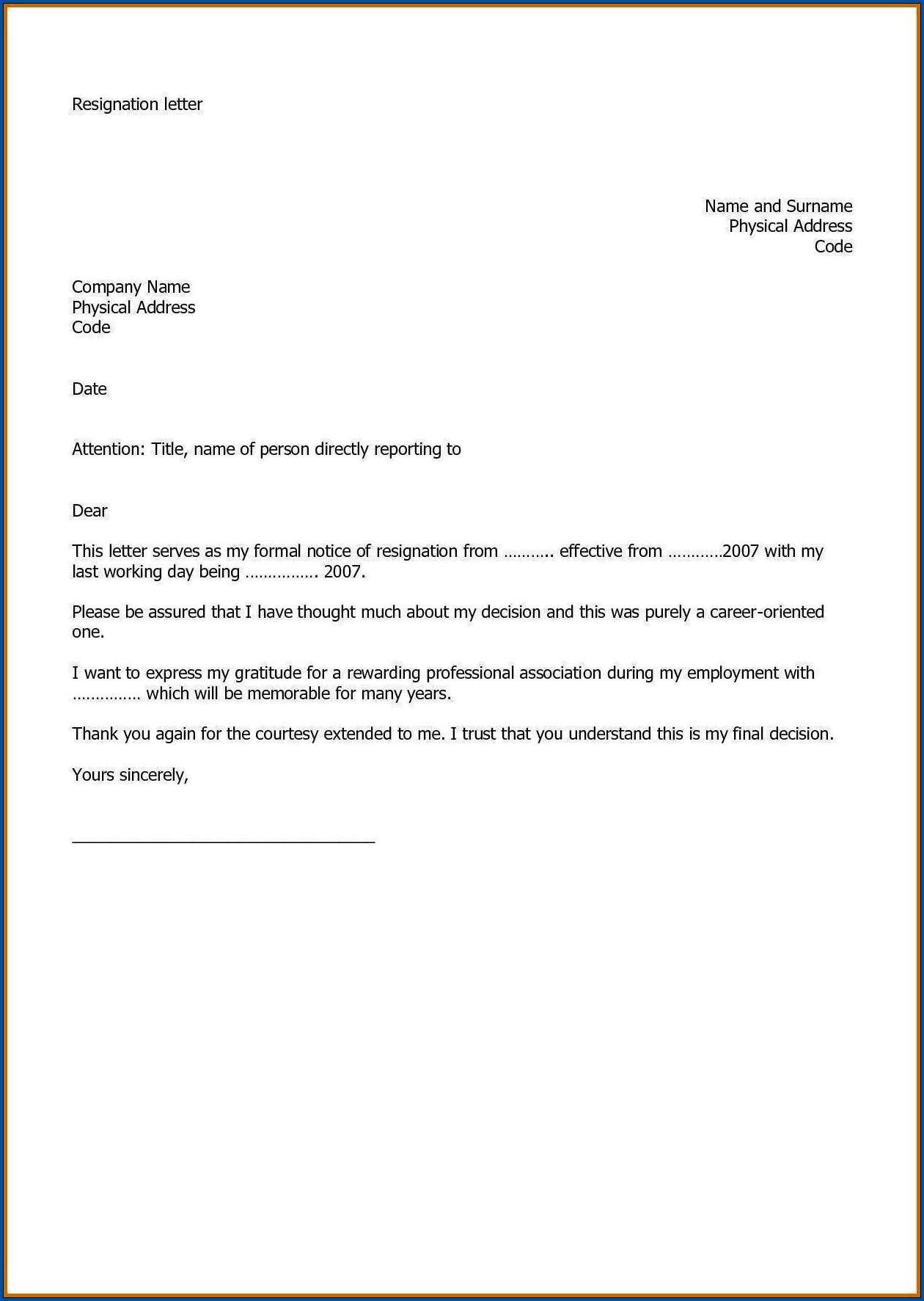 Sample of Resignation Letter From Work