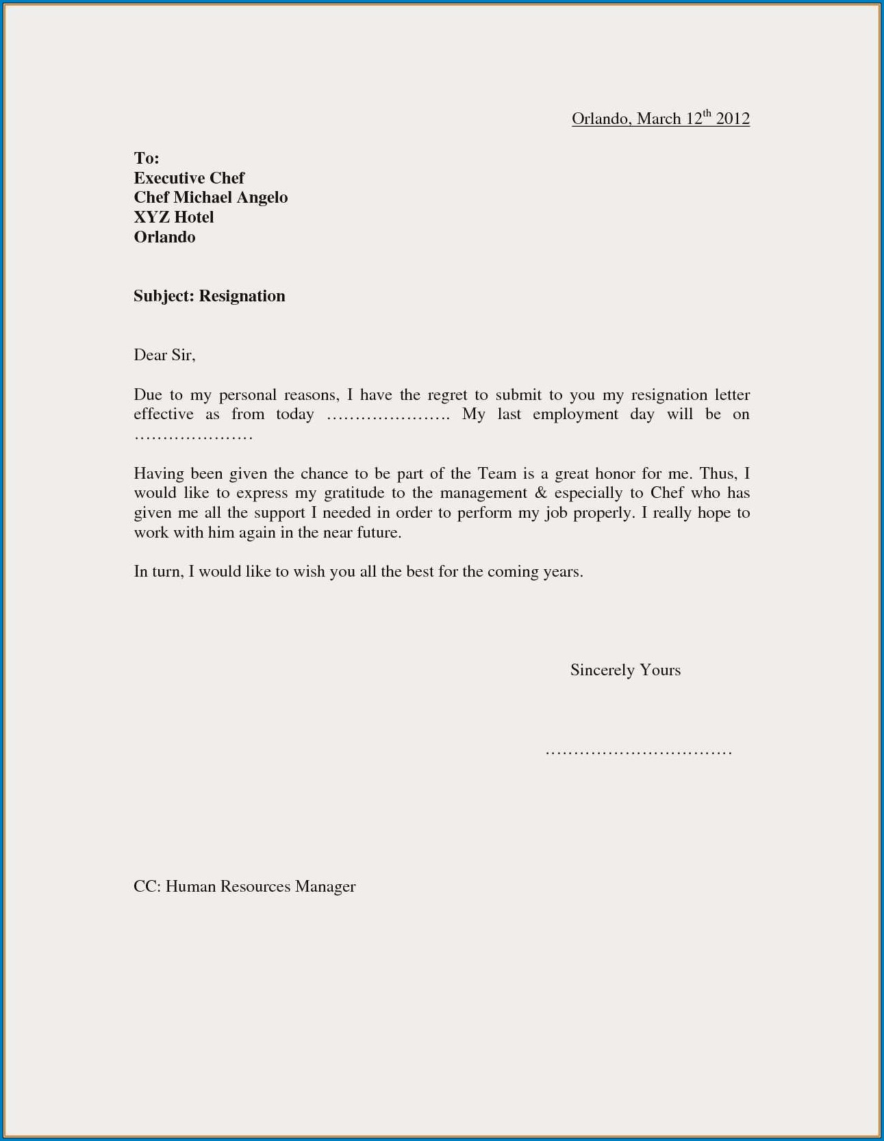Sample of Resignation Letter Of Job