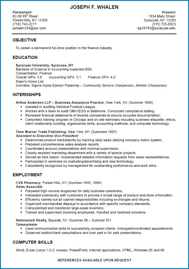 Sample of Resume Template For College Student