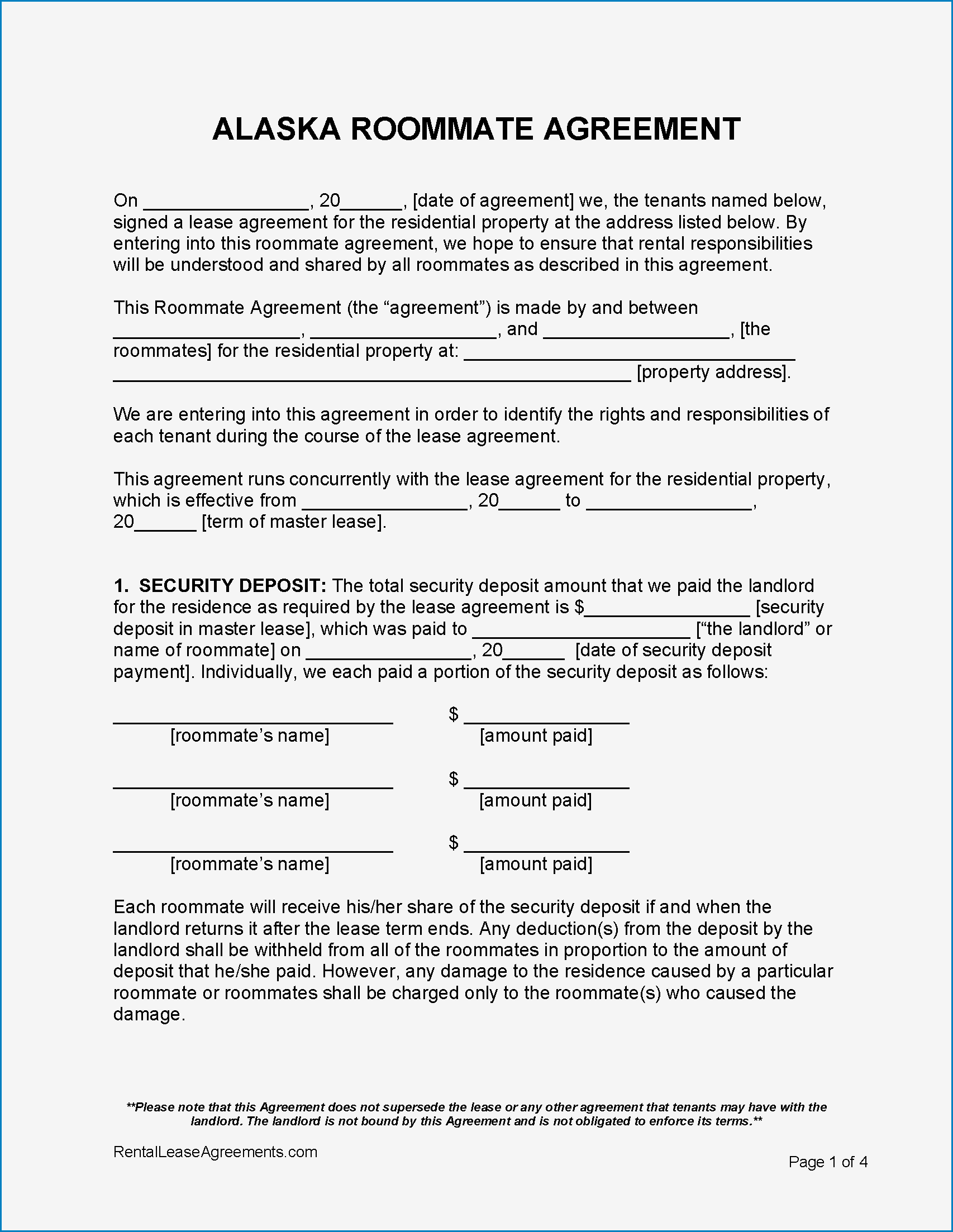 Sample of Roommate Agreement Template