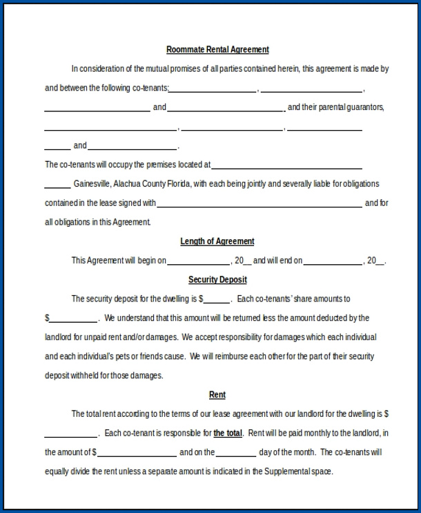 Sample of Roommate Agreements Template