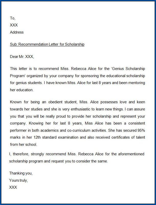 Sample of Scholarship Letter Of Recommendation Template