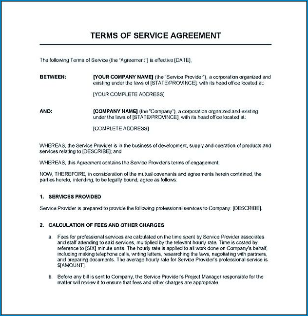 Sample of Service Agreement Contract Template