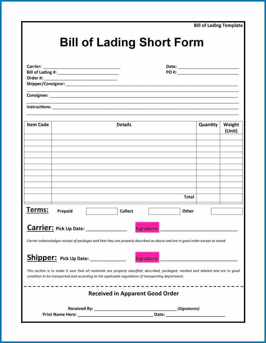 Sample of Short Form Bill Of Lading