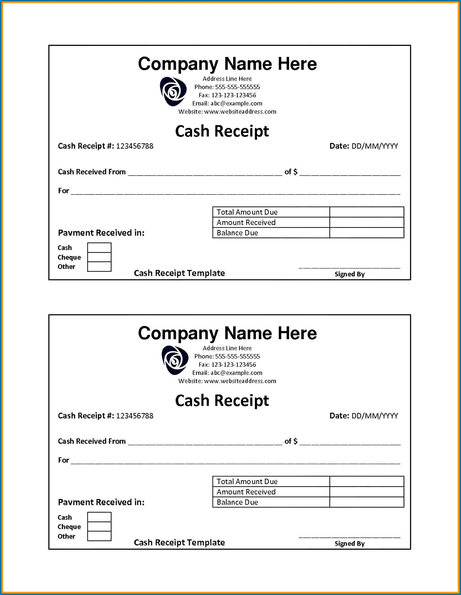 Sample of Simple Cash Receipt Template