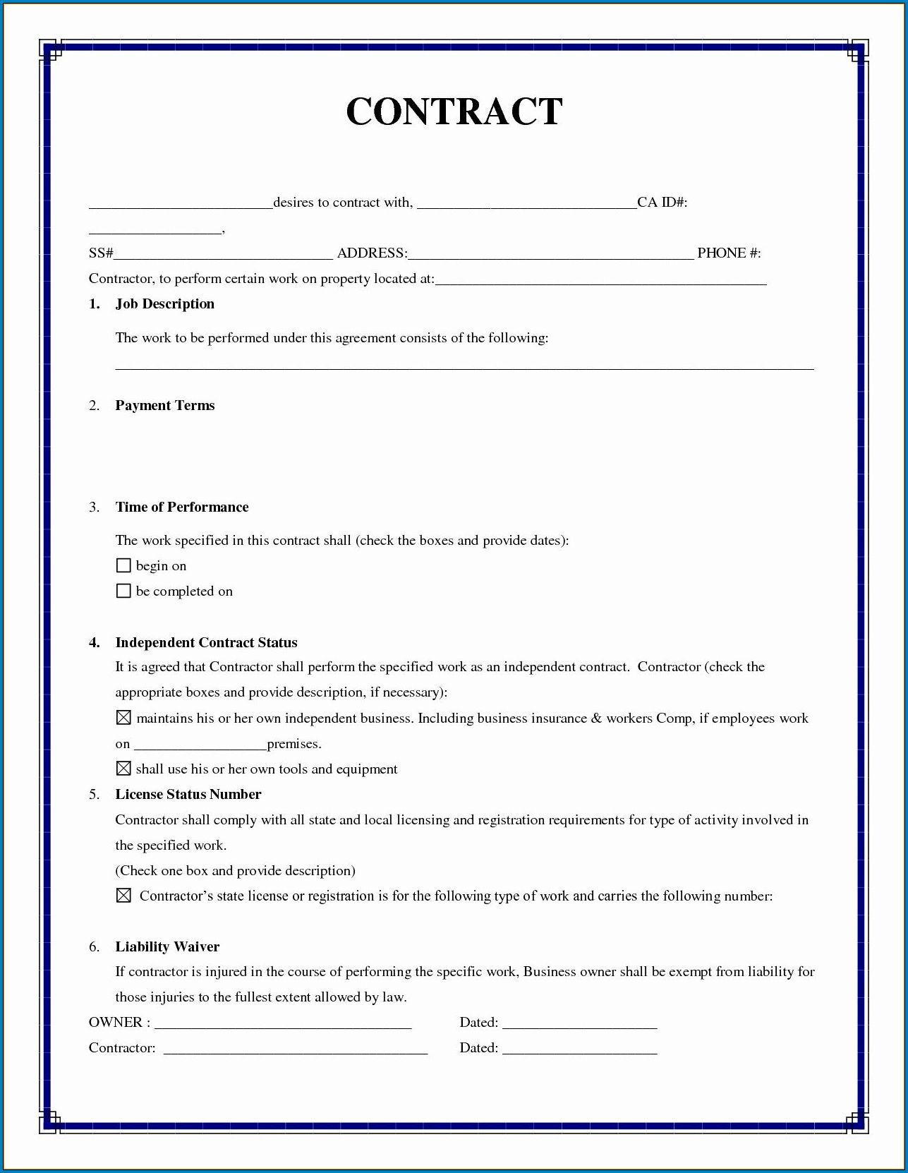 It is a photo of Free Printable Independent Contractor Agreement intended for rental agreement contract