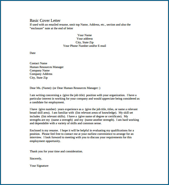 Sample of Simple Cover Letter Template