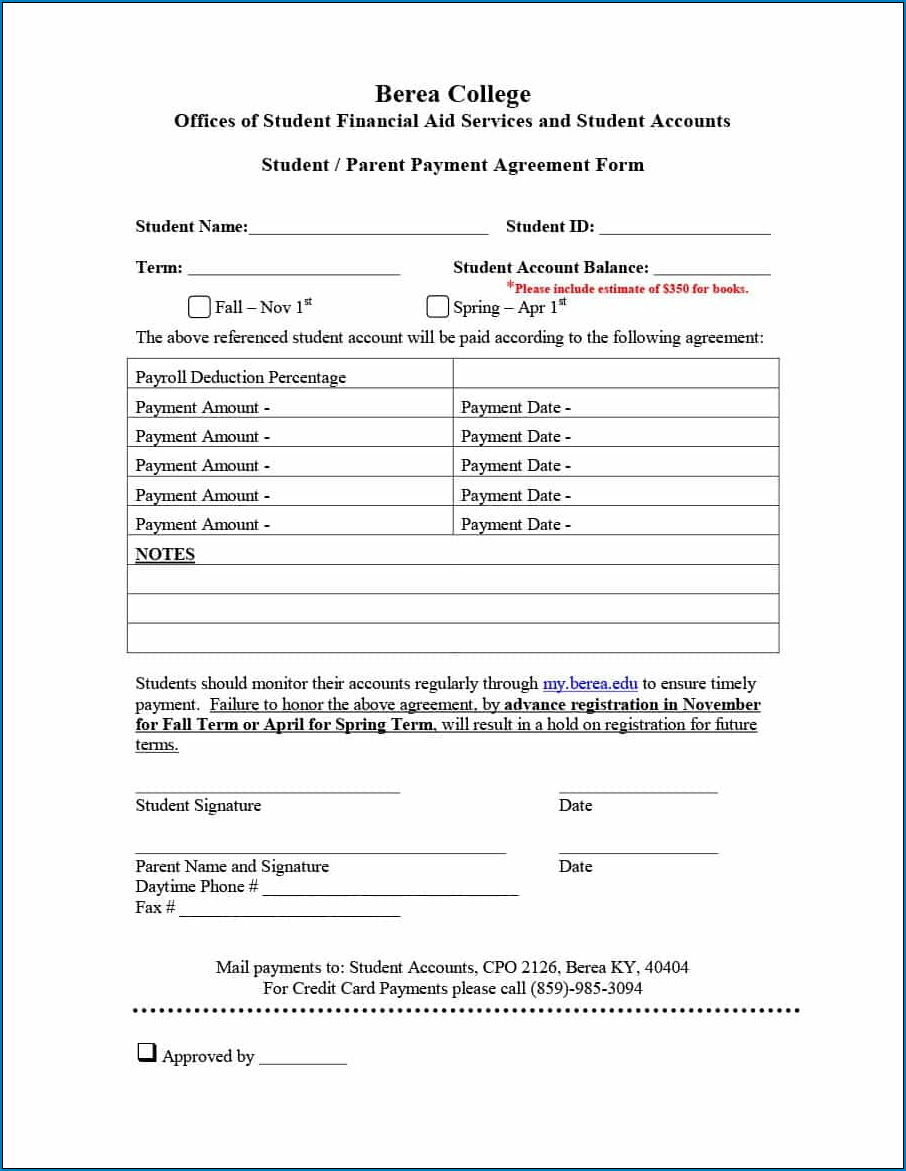 Sample of Simple Payment Agreement Template Between Two Parties