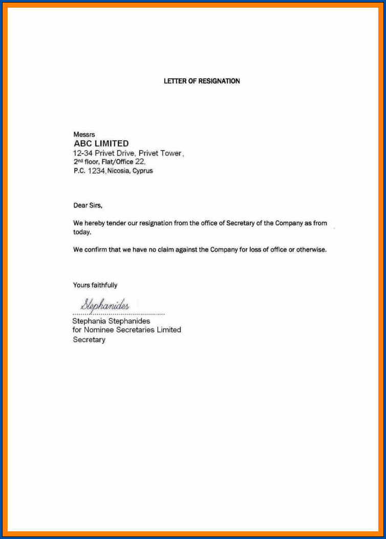 Sample of Simple Resignation Letter Template