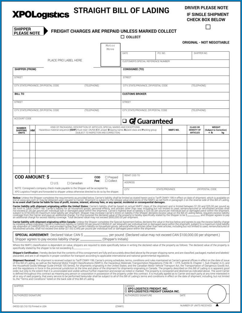 Sample of Straight Bill Of Lading Form