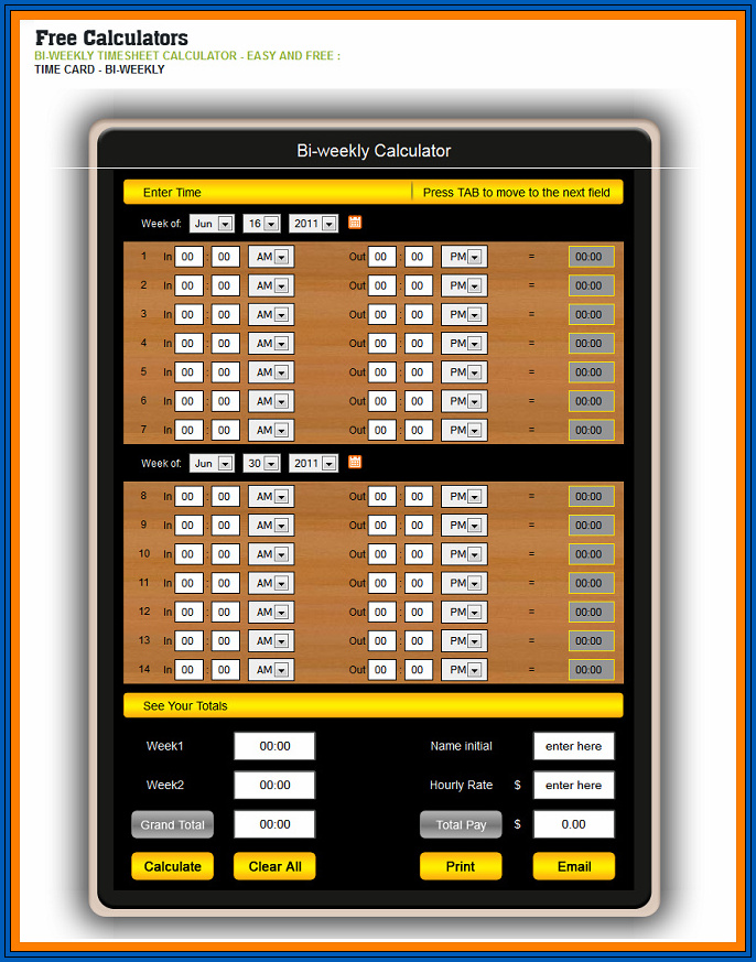 Sample of Timesheet Calculator With Lunch Break