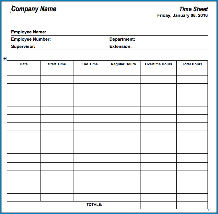 Sample of Timesheet Template For Employees