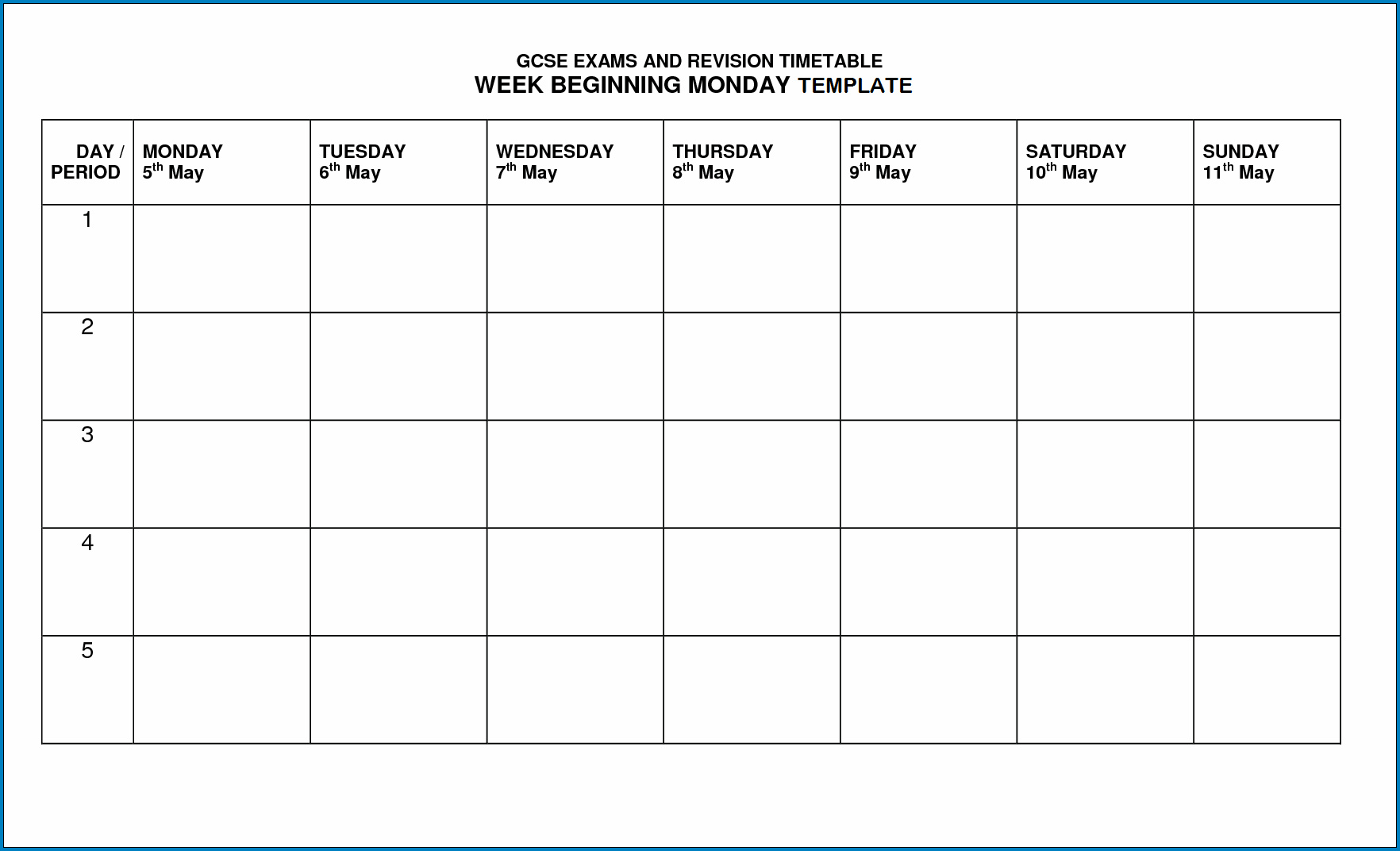 Sample of Timetable Template