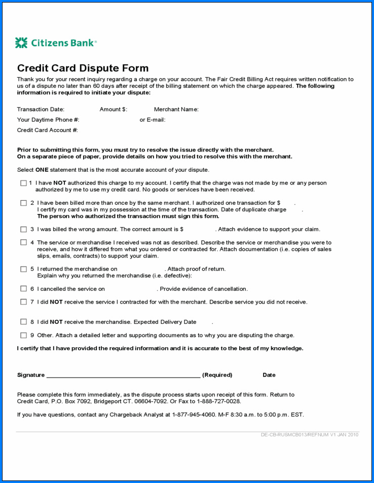 Sample of Transaction Dispute Form