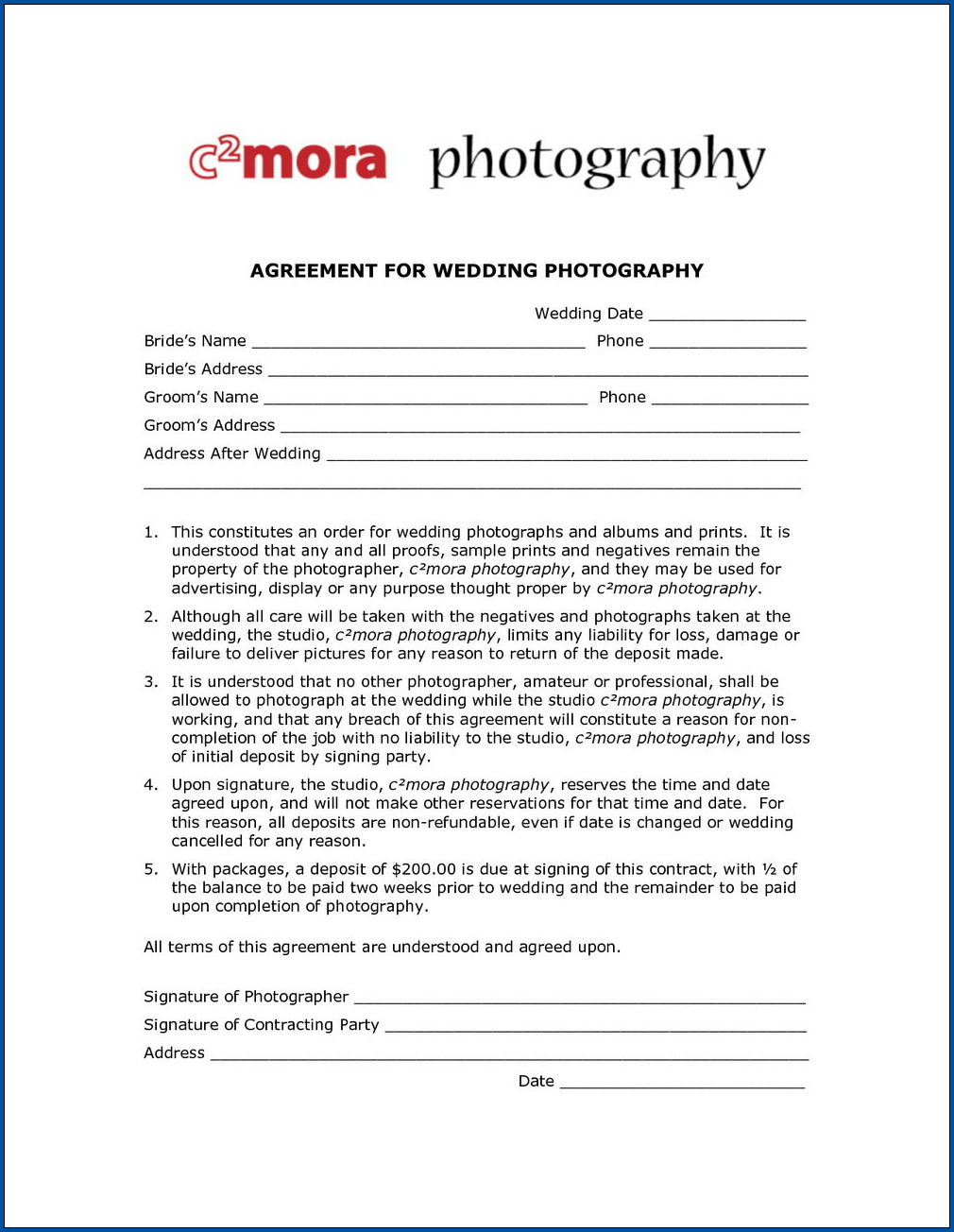 Sample of Wedding Photography Contract Template