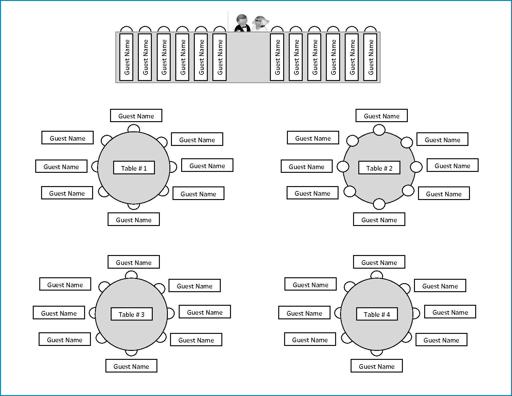 Sample of Wedding Seating Chart Template