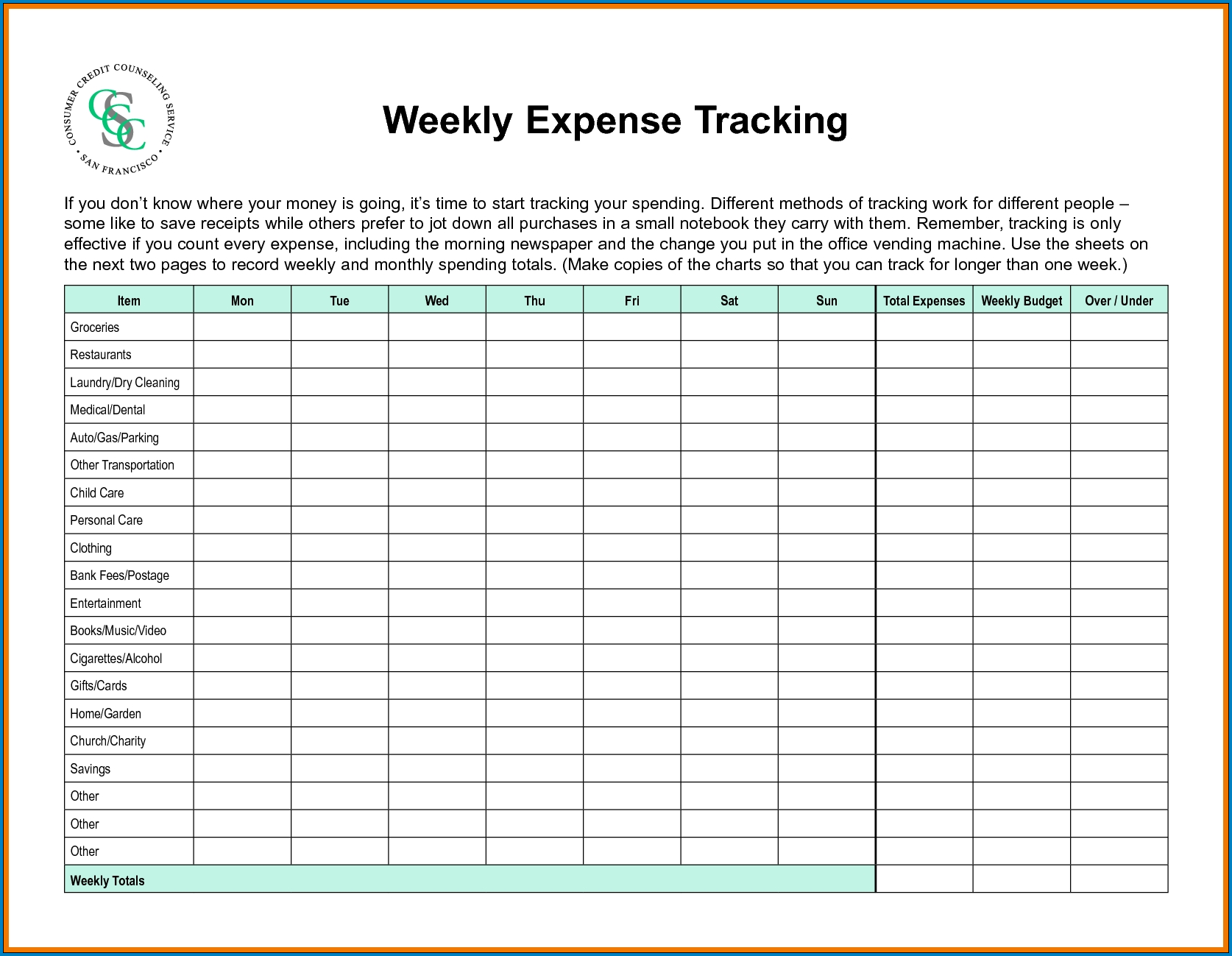 Sample of Weekly Budget Template