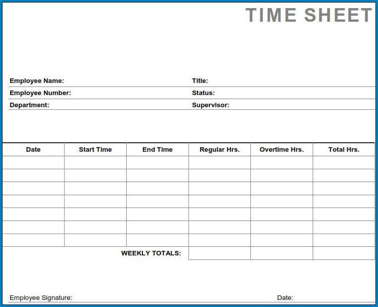 Sample of Weekly Employee Timesheet