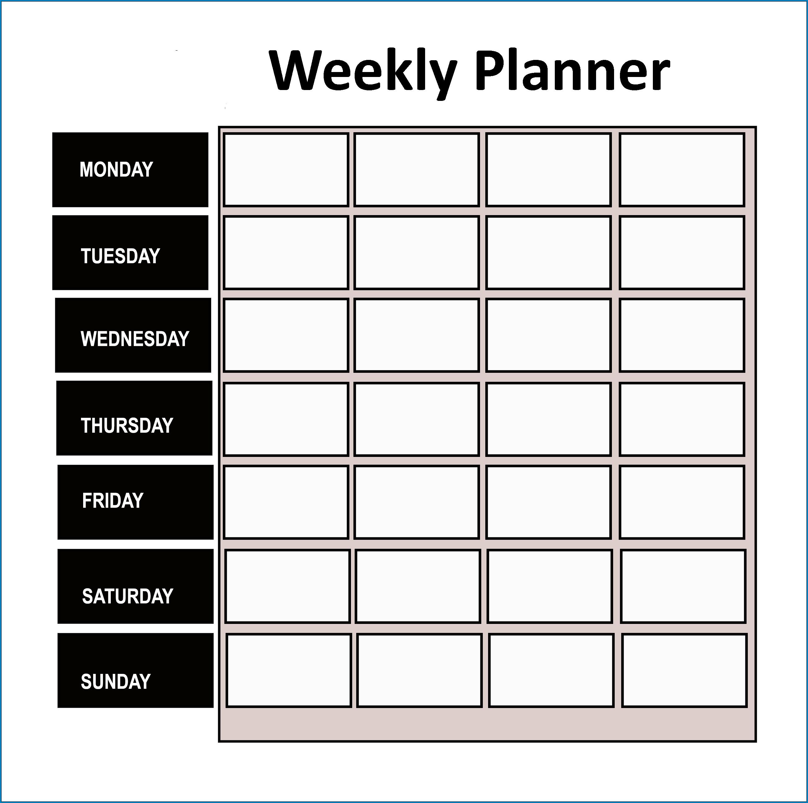 Sample of Weekly Planner Template Excel