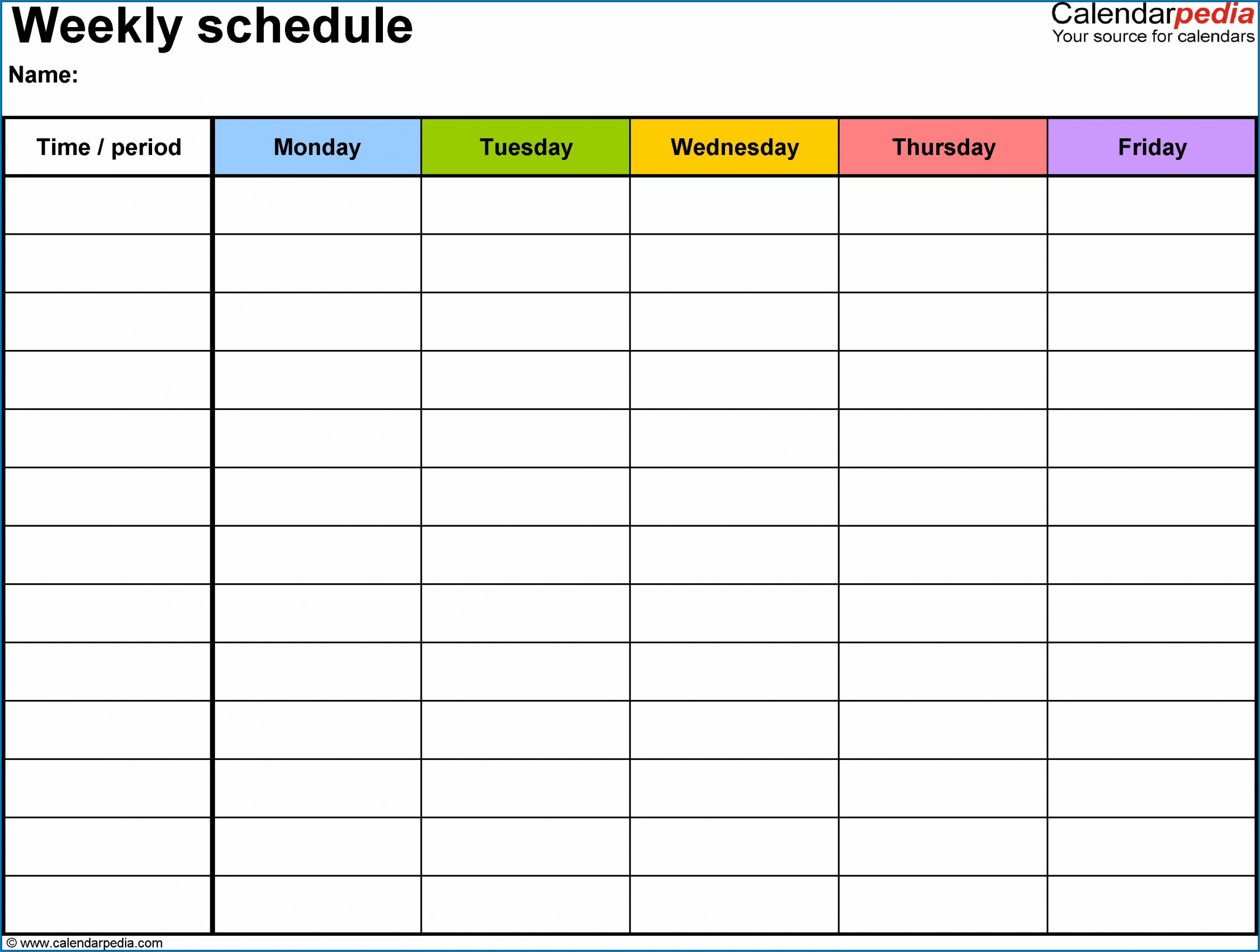 Sample of Weekly Schedule Template Word