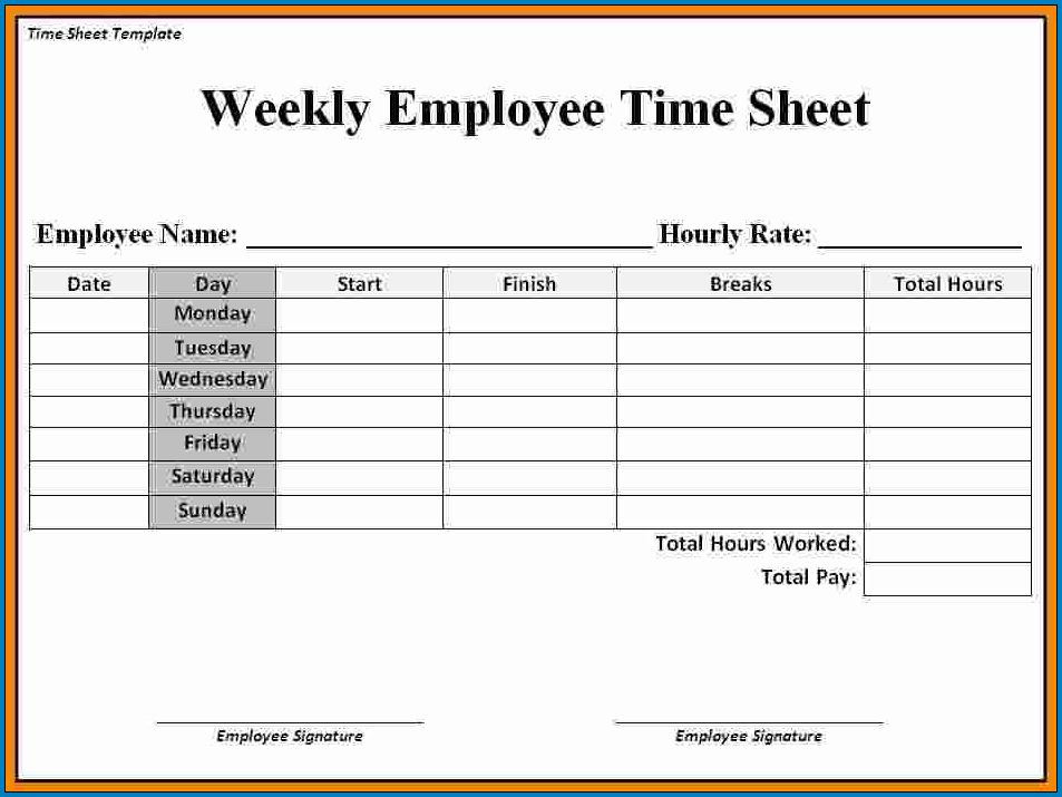 Sample of Weekly Timesheet Template For Excel