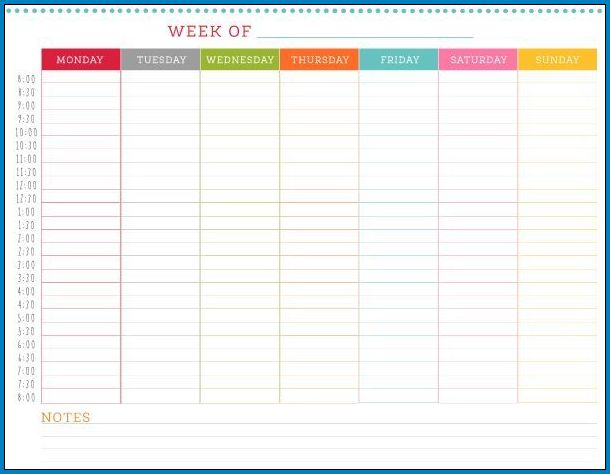 Sample of Weekly Timetable Template