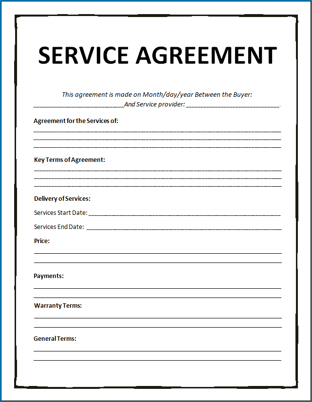 Free Printable Service Agreement Template