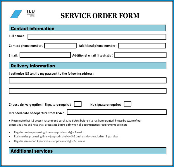 Service Order Template Sample